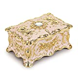 Hipiwe Vintage Metal Jewelry Box - Two Layer Rectangular Trinket Organizer Storage Box Ornate Treasure Chest Box Jewelry Decorative box Keepsake Gift Box Case for Women Girls, 7