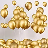 90 Globos Metálicos Globos de Látex de Cromo Incluyen Globos de 12 Pulgadas y de 5 Pulgadas Globos Decorativos de Metal para Fiesta de Cumpleaños Boda Compromiso Aniversario (Oro)