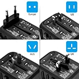 Reiseadapter Reisestecker Universal Travel Adapter USB Reiseadapter Weltweit Steckenadapter USB Stecker Steckdose Adapter mit 3 USB Ports+Type C für 224 Ländern Europa UK Australien USA China - 3
