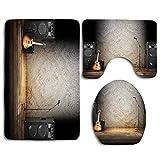 N\A Guitarra Instrumento Musical en el Escenario 3PCS Franela Antideslizante Asiento de Inodoro + Almohadilla para los pies + Alfombrilla de baño Set de baño Decoración de Inodoro