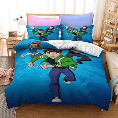 QWAS Ben10 Juego de ropa de cama de 3 piezas (L1,200 x 200 cm + 80 x 80 cm x 2)