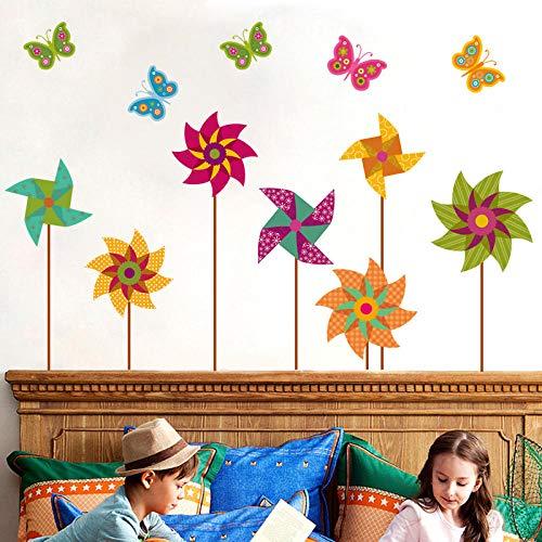 Runinsticker behang zelfklevend voor kinderkamer, vlinder cartoon DIY molen, kleur vinyl, wandsticker, voor kinderkamer