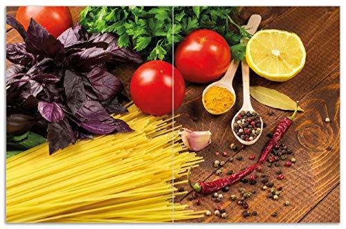 Wallario Herdabdeckplatte/Spritzschutz aus Glas, 2-teilig, 80x52cm, für Ceran- und Induktionsherde, Motiv Italienisches Menü mit Spaghetti, Tomaten, Basilikum und Gewürzen