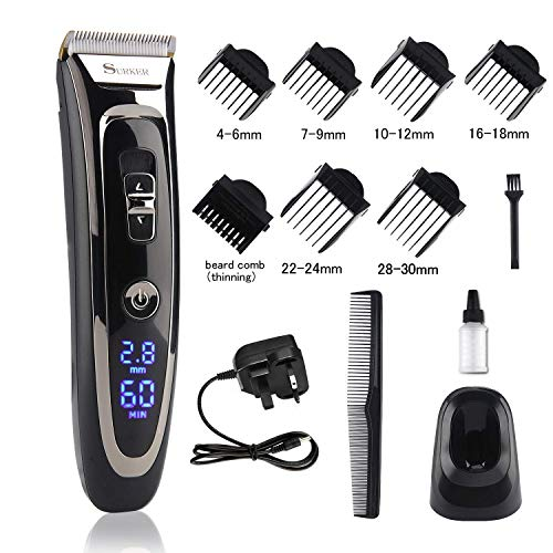 Cordless Hair Clipper Set Rechargeable Electric Hair Trimmer Mens Grooming...
