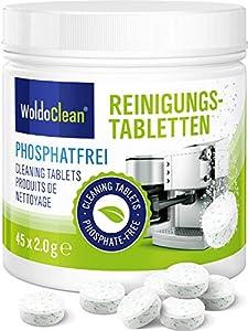 WoldoClean Pastillas de limpieza sin fosfatos para cafeteras automáticas, cafeteras, Jura, Delonghi, Bosch, Siemens Seaco 45x