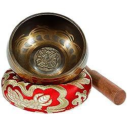Rovtop Tibetische Klangschale Klein 9.5cm - 230g, Klangschalen Set Beinhaltet Deko Kissen und Klöppel für Klangschale. Singing Bowl aus Tibet für Entspannung, Angstreduktion, Yoga