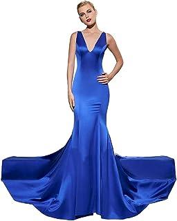 81a2de5e5e24 Jitong Vestito Sirena Donna Pizzo Senza Schienale Vestiti Lungo da  Cerimonia Collo V Abito da Sera