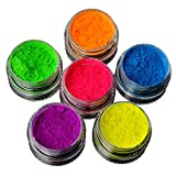 Lomsarsh 6 pezzi di vernice fluorescente, vernice per il corpo, set neon nail art pigmento polvere fluorescente gradiente iridescente glitter manicure suggerimenti per la decorazione nail art kit