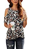 SMENG Mujeres Leopard Print Camisas Moda Blusa anudada Fuera del hombro Tops de manga corta - negro - Large