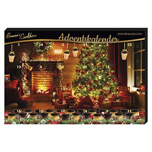 Adventskalender Braunes Eierlikör (83,25? /1l) Weihnachtskalender mit verschiedenen Eierlikör-Sorten, Klötenköm, Likör aus Eiern, Eierschnaps
