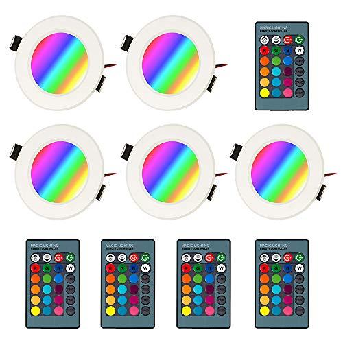 BLOOMWIN 5PCS RGB Faretto da Incasso, Mini Lamapda da Soffitto Dimmerabile con Telecomando 85-265V per ingresso soggiorno/Sala da pranzo/Palcoscenico/Bar/Club/Terrazzo Bianco