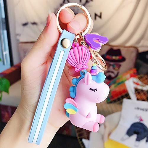 Llavero lindo unicornio 3D llavero mujer llave del coche bolsa colgante mochila adornos niña niños amantes regalo juguete kawaii dibujos animados teléfono cordón (color: E rosa claro)