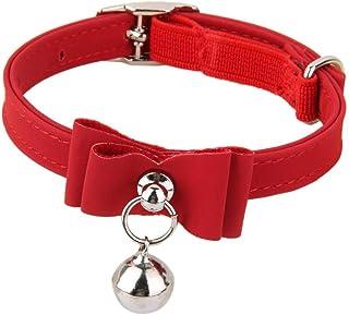 Haobase Adjustable Bell Buckle Velvet Neck Strap For Kitten Cat Puppy - Red