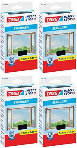 tesa® Insect Stop STANDARD Fliegengitter für Fenster - Insektenschutz zuschneidbar - Mückenschutz ohne Bohren - Fliegen Netz anthrazit, 130 cm x 150 cm (4)