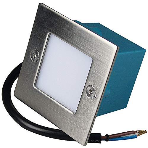 LED Wandeinbauleuchte 230V Einbaustrahler Lea 1 x 1.5W Treppenlampe 6200K Kaltweiß IP54 Nachtlicht