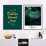 KWzEQ Plantas Tropicales Hoja Verde Lienzo Arte de la Pared Lienzo Arte Cartel nórdico Sala de Estar Pintura Decorativa-Pintura sin marco60X80cmx2
