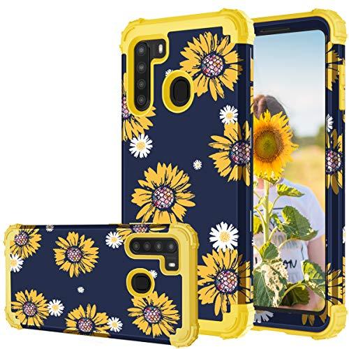 Samsung A21 Case, Samsung Galaxy A21 Case, Fingic Sunflower 3 in 1 Heavy Duty Protection Hybrid Hard PC Soft Silicone Rugged Bumper Full-Body Shockproof Protective Cases for Samsung Galaxy A21, Yellow