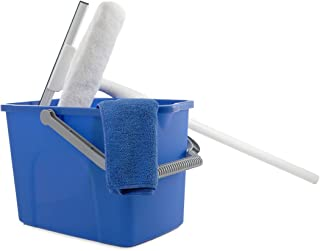 Unger Window Washing Starter Kit with 2-in-1 Microfiber Combi, Collapsible Pole, Microfiber Cloth, and Bucket - 978900