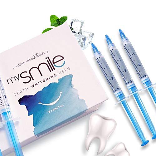 mysmile Zahnaufhellung Nachfüllgele - Zahnbleaching Gel für weiße Zähne - Refill Bleaching Gel für unser Teeth Whitening Kit - Weißere Zähne für Zuhause - 6 x 3ml