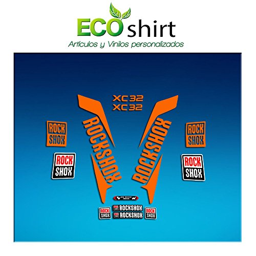 Ecoshirt NB-8SS3-SKV3 Sticker Fork Rock Shox Xc32 2017 Am170 Sticker Decals Sticker Vork, Oranje