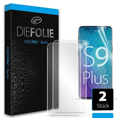 Crocfol Schutzfolie vom Testsieger [2 St.] kompatibel mit Samsung Galaxy S9 plus - selbstheilende Premium 5D Langzeit-Panzerfolie -inkl. Veredelung - für vorne, hüllenfreundlich