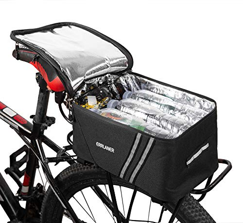 ERRLANER Bicycle Rack Rear Carrier Bag Insulated Trunk Cooler 11L Large Capacity Storage Luggage Pouch Reflective MTB Bike Pannier Shoulder Bag with Rain Cover
