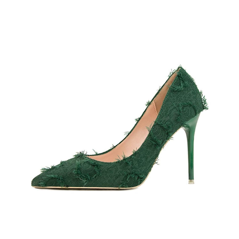 [DOUERY LTD] スリッポン パンプス 女性 ハイヒール 履き心地 歩きやすいよい 小さいサイズ レディースシューズ ソリッドカラー 22.0cm 通勤 結婚式 春 通気性 ベージュ