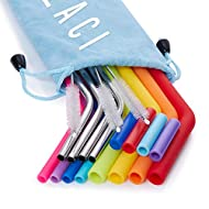 4 Stainless Steel Straws and 8 Silicone Straws with 2 Cleaning Brushes, Reusable Silicone and Metal Drinking Straws for 20oz 30oz Stainless Tumbler Yeti Rambler Rtic Ozark Trail Complete Bundle