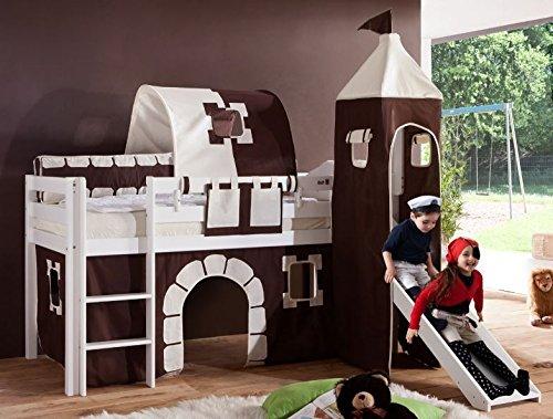 Froschkönig24 Hochbett Alex Kinderbett mit Rutsche Spielbett Bett Weiß Stoffset Burg, Matratze:ohne