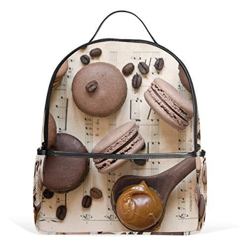 Rucksack mit französischer Macaron-Kaffeebohnen, Segeltuch-Rucksack, große Kapazität, lässiger Reise-Tagesrucksack für Kinder, Mädchen, Jungen, Kinder, Studenten, 3–9 Jahre alt