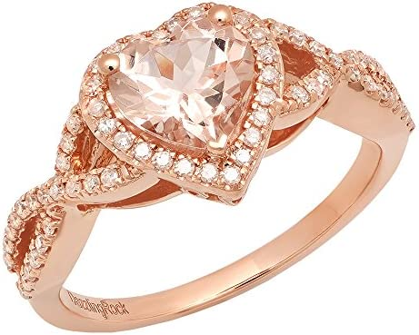 Dazzlingrock Collection 10K 7 MM Heart Morganite Round Diamond Ladies Swirl Halo Engagement product image