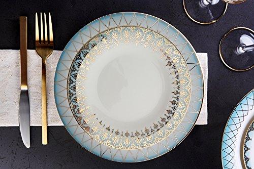 Porland Mahpeyker - Juego de vajilla (60 piezas, 12 unidades), color turquesa