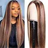 UNice Hair Silk Base Fake Scalp Ombre Highlight Middle Part Wigs for Black Women, Brazilian Straight Human Hair T-Part Lace Closure Wig Pre Plucked with Baby Hair 150% Density 22inch