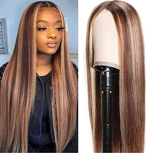 UNice Hair Silk Base Fake Scalp Ombre Highlight Middle Part Wigs for Black Women, Brazilian Straight Human Hair T-Part Lace Closure Wig Pre Plucked with Baby Hair 150% Density 18inch