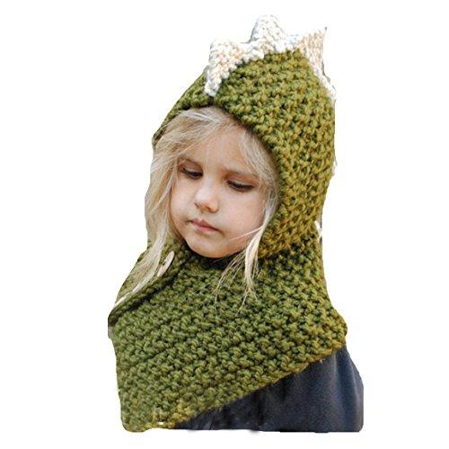 Fancyland Bonnet de Laine Tricote Renard Ensemble Bonnet Echarpe Hiver pour Enfant Unisexe pour 1-4 Ans (Dinosaur-Green)