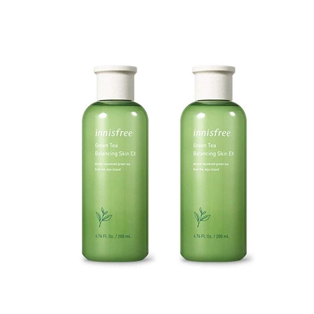プレフィックス優雅キャリアイニスフリーグリーンティーバランシングスキンEX 200mlx2本セット韓国コスメ、innisfree Green Tea Balancing Skin EX 200ml x 2ea Set Korean Cosmetics [並行輸入品]