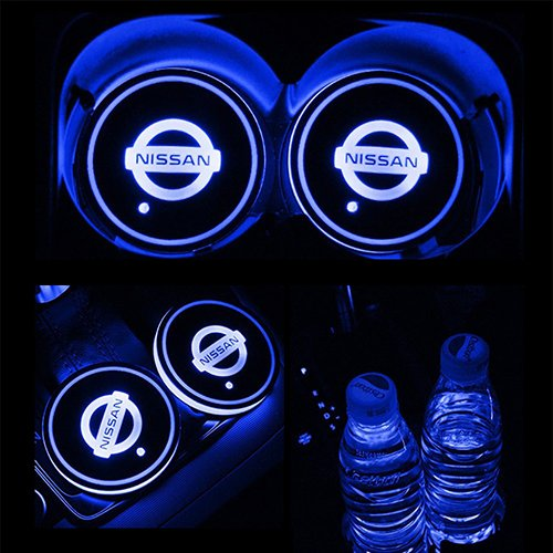 TaiFuMaoYi Led Car Cup Holder Mat Pad Waterproof Bottle Drinks Coaster Built-in Vibration Automatically Turn On at Dark Universal 7-Color Light 2-Packs Mercedes-Benz