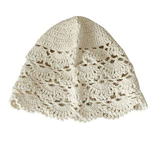 KESYOO Gorras de Gorrita Tejida de Encaje para Mujer Sombreros de Ganchillo de Algodón Gorro de Accesorios para El Cabello de Verano