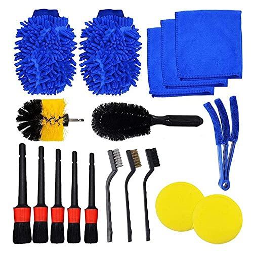 FTING 18 piezas de cepillo para detalles de coche, cepillos para limpieza de ruedas, motor, interior, exterior, para limpieza de coches y belleza