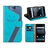 MOBESV Smiley Nokia 3 Hülle Leder, Nokia 3 Tasche Lederhülle/Wallet Hülle/Ledertasche Handyhülle/Schutzhülle für Nokia 3, Aqua/Dunkel Blau