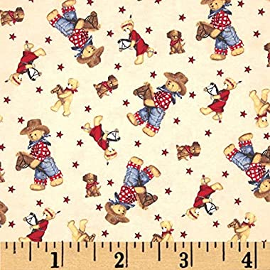 Fabric Traditions Flannel Tossed Cowboy Bears Ivory/Multi Fabric By The Yard