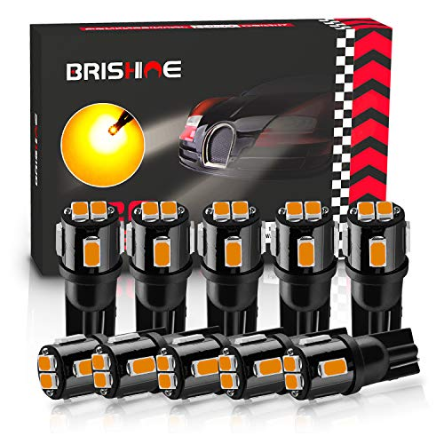 BRISHINE 194 LED Bulbs Extremely Bright Amber Yellow 5630 Chipsets 168 2825 175 T10 W5W LED Replacement Bulbs for Car Interior Map Dome Door Courtesy License Plate Lights(Pack of 10)