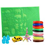 3D Printing Pen Mat, 3D Pen Filament Refills, 12 Colors PLA 3D Printer Refill Pack and Pen Mat Set with 4 Silicone Finger Caps, Best Gifts for Kids and Adults