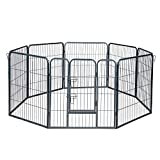 Paws & Pals Dog Playpen, Portable Heavy Duty Metal Pen Fence for Indoor Outdoor, Foldable 8 Panel - 30 Square Feet Wire Pet Playpens with Tube Gate for Play - Exercise Large & Small Dogs Puppy Rabbit