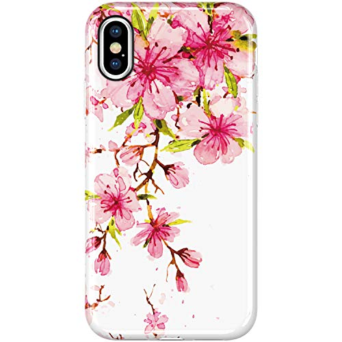 VIVIBIN iPhone X Case,iPhone Xs Case,Cute Pink Flower Florals for Women Girls Clear Bumper Soft Silicone Rubber TPU Best Protective Cover Slim Fit Phone Case for iPhone X/iPhone Xs