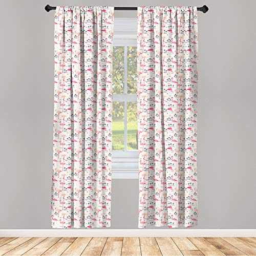 """Ambesonne Flamingo Curtains, Flamingos in Vintage Style Illustration Love and Romantic Animals Artwork Print, Window Treatments 2 Panel Set for Living Room Bedroom Decor, 56"""" x 63"""", Beige Pink"""