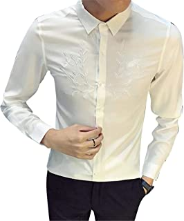 FRPE Men Long Sleeve Slim Fit Trendy Lapel Collar Embroidery Button Down Blouse Shirt Tops