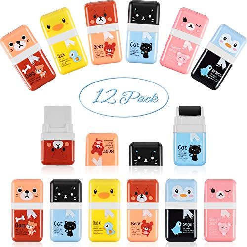 12 Pcs Pencil Erasers Cute Eraser with Shaving Roller Case for Easy Pick Up and Removal Animal Themed Party Favor School Supplies for Kids Back to School Gift