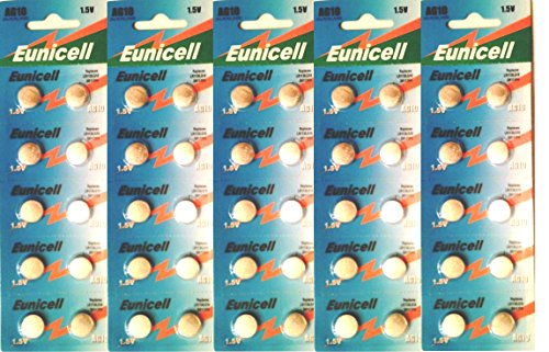 Eunicell Lot de 50 batterie a bottone alcaline AG10/SR1130/SR54