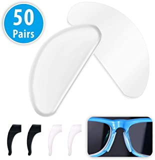 Eyeglass Nose Pads, 50 Paris Non-Slip Silicone Adhesive Nose Pad Thin Nose Pads for Eyeglasses Sunglasses Spectacles (Transparent 1mm)